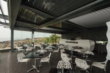 Mountain Top Hotel Terrace with Bioclimatic Prgola Glassroom